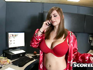 Busty-girl-next-door champion Christy Marks pads into the studio office at SCORE, looking for the manager. 2