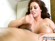 There's also some nice face-fucking action with Eva on her back getting her throat filled.