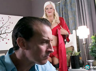 Strapping blonde Jenna Jayden's big bazooms were made for banging.