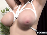 Jessica says she has no personal fetishes of her own sucking her own nipples doesn't count so this binding deal is something different for the Chicago pointy sweater girl.