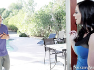 Kendra is out back watching the pool guy do his thing when she notices it is not her usual Frank and starts fingering her cougar pussy.