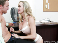 Brandi Love is interviewing Van for a sales position when Van hints that Brandi might need a little help keeping her men hard in the bedroom.