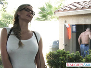 Johnny stops by Phoenix Marie's house to check her utility box and while he's doing his thing Phoenix is out daydreaming about Johnny filling her box with his big dick.