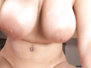 He came over, oiled up her tits for a little fun of his own sliding his cock between them both for a fuck, then getting an amazing blow job.