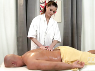 Brunette newcomer angie gives a very thorough rubdown to lucky stud neco.