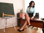 Jasmine black is back in an office setting, which is an especially perfect one for her commanding presence.