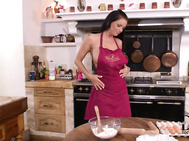 One of our favorites around here, sheila grant from hungary, turns herself into a bosomy buffet in a kitchen today.