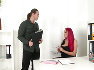 Paige delight from great britain plays an office manager today--a big-breasted manager, that is, in a revealingly low-cut little black dress, sheer black thigh high stockings.