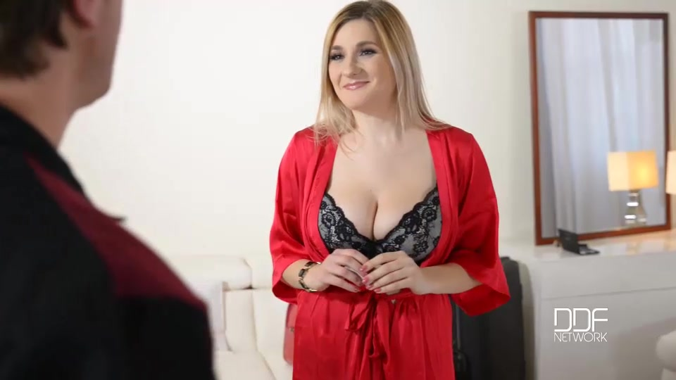 Czech busty pornstar auddi wakes up in her ddf hotel room, still in the black lace lingerie she wore last night when she was out partying.
