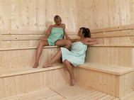Miranda, i were relaxing in the sauna after a swim.