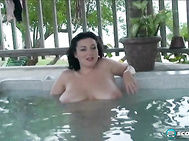 In Part 2, Lorna hot tubs it, proving again that natural tits float, and float nicely.