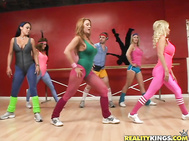 While taking their aerobics class, the girls keep getting creeped out by the one guy in the class checking them out.