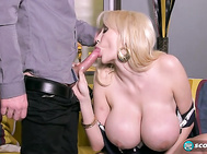 Watching slim and super-busty Sandra Star worship the wood is a great experience.