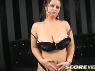 Doe-eyed, busty brunette Sirale can get you off with her mouth, big boobs and pussy.