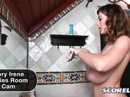 The SCORE spy cam gets up-close and personal with the exquisite Valory Irene as she attends to her own personal morning ritual in the bathroom.