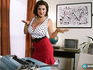 Valory Irene steps into the big-boob time machine to become a 1960s-era secretary.