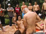 This orgy was in full effect with four hot girls just fucking their brains out.