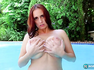 It's cool pool time before a hot time with bikini-clad Demmi Valentine.