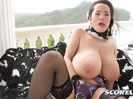 And here comes another force of nature, female typhoon Hitomi wearing a fetishy outfit.