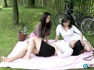 It's park picnic time for giggling and happy bicycling babes Roxanne Diamond, Amorina and their magnificent role model, the great Joana, goddess of big boobs.
