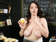 Kate Marie is wasting her time at StarBoobs serving coffee and pastries to grumpy people in a hurry. 2