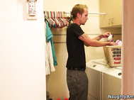 Sonny is doing laundry when he sees his roommate Kristy Snow's big bra in the basket.