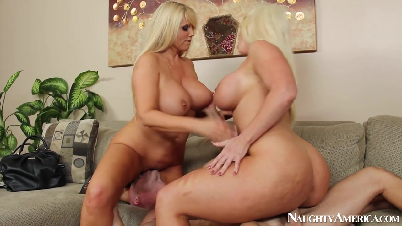 The blonde beauties get naked and fish out Johnny's big dick for both of them to suck on, then fuck it to their heart's content.