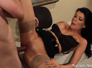 His hot teacher, Romi Rain, catches him and has him report to her classroom immediately.