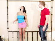 Ava Addams calls her son's friend over to help her fix a light in her bedroom.