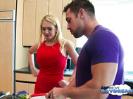 Kagney has been on a diet and comes into her kitchen to see what Johnny is making for her.