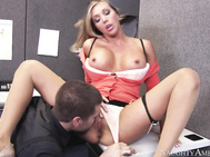 Samantha Saint just got back to the office from vacation and she finds her employee slacking off.
