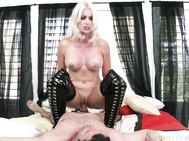 Gigi pulls Preston into her room and has him suck on the heel of her boot before giving him a hot fucking.