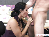 Her co-worker, Ryan, offers to brighten her day by letting her ride his big dick.
