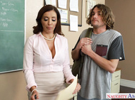 Francesca caught her student helping his friend cheat on her test and brings him to have a small talk about what they are going to do as a punishment.