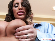 August Ames sneaks into her friend's house, puts on some lingerie, and waits for her friend's husband to get home.