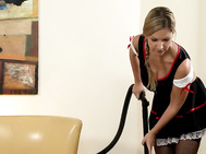 One of our favorite ladies, carol from the czech republic, plays a maid vacuuming a living room.