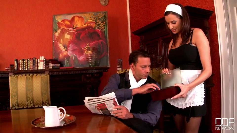 Sensual jane caters to nick lang in an elegant dining room.