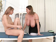 These busty pornstars have a meeting of the mams in our ddf genital hospital examining room today.
