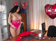 New face charley atwell shows up in the office complete with balloons, a bosom that will make your eyes pop out.