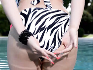 Angel wicky is a bathing beauty supreme at the pool in her black, white animal print bikini, which really shows off her 34ddd/e-25-36 bod in her new full hd big tits porn video.
