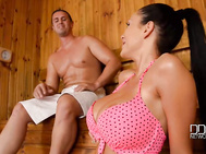 Busting out of her pink polka dot bikini top, luscious patty michova flashes us some juicy 34d cleavage, a big smile while waiting for her cocksman, tomas aka tarzan, to show up to make her ddf sauna afternoon a sperm-filled adventure in this exclusive fu