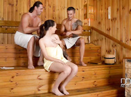 Lucie wilde shows up at the ddf sauna to brighten the day for tomas aka tarzan, sabby.