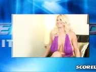 Blonde ultra-bombshell Kelly Christiansen talks about her huge boobs and wonderful bottom, her fucking around with Karen Fisher and what she likes to do at home.