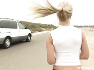 I saw this busty blonde hottie pull over and leave her car unattended while she jogged around the beach.
