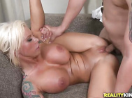 He sucked on those amazing tits and munched on her wet pussy.