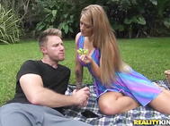 He explored the area and found this sexy MILF named Holly having a picnic by herself.