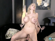 Sandra's eager to suck on his stiffie but Max first wants to give Sandra's whopping-big boobs and shaved pussy the kind of lip service they rightfully deserve.