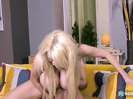 Sandra creates a popping sound from her suction and makes moaning pleasure sounds as she orals him into hooter heaven. 2
