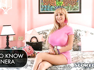 Now Charlee is back to stroke, tit-fuck and suck the hard wood in a Tits, Tugs & Tongue with a stunt member.