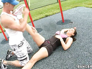But before that, Megan had a little stretch and work out routine at the park to warm up for the cock.